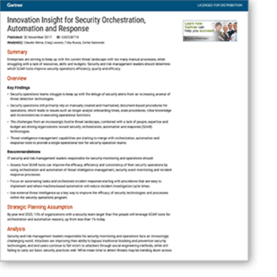 "Gartner: ""Innovation Insight for Security Orchestration, Automation and Response (SOAR)"""